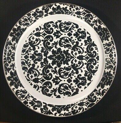 Black White Damask Decorative Metal Tray Home Decor Elegant Serving Platter ()