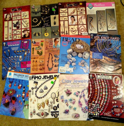 Lot of 12 Jewelry Design Craft Booklets Beading Necklaces Earrings Clay Beads Y