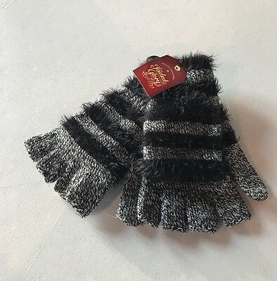 New Faded Glory Striped Fuzzy Pop Top Gloves Color Black Soot Tusk FG163113