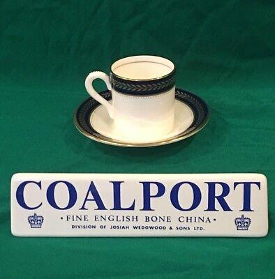 Coalport BLUE WHEAT Flat Demitasse Cup & Saucer Set(s) ~ Cobalt & Gold - Blue Flat Demitasse Cup
