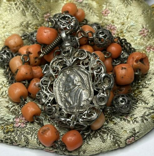 """† ENORMOUS 1700S SCARCE ANTIQUE ST ANTHONY FRANCIS GENUINE CORAL ROSARY 30 1/2""""†"""