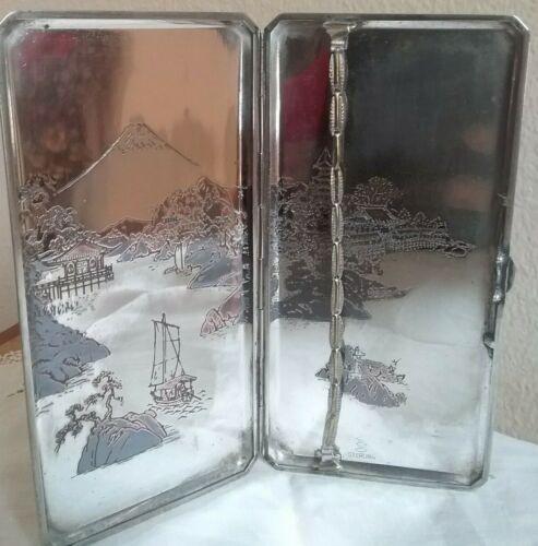 "Antique Japanese Sterling Silver Cigarette 6 1/2 x 3 1/4 "" Case 175.8 Grams"