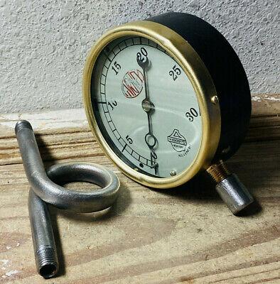 1930s Large 5 Vintage Brass Pressure Gauge By Ashcrpoft Antique Steampunk