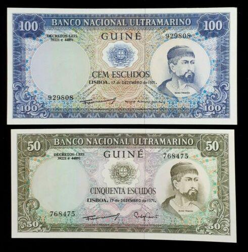 1971 PORTUGUESE GUINEA 100 & 50 ESCUDOS CURRENCY NOTE - UNC CONDITION