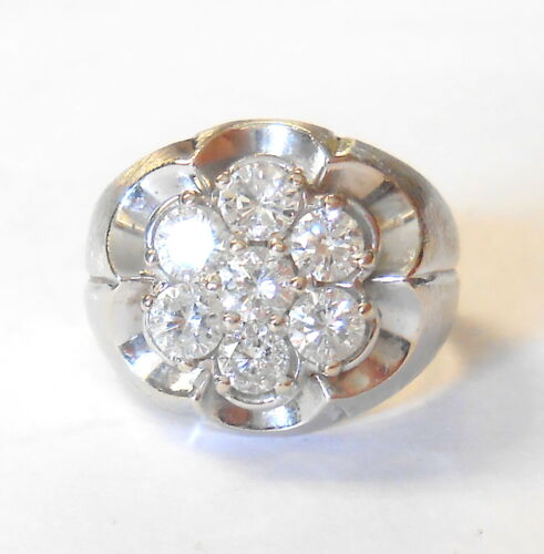 Vintage 3 mm Diamonds Floral Cluster 14K White Gold Ring Size 5 Textured Band