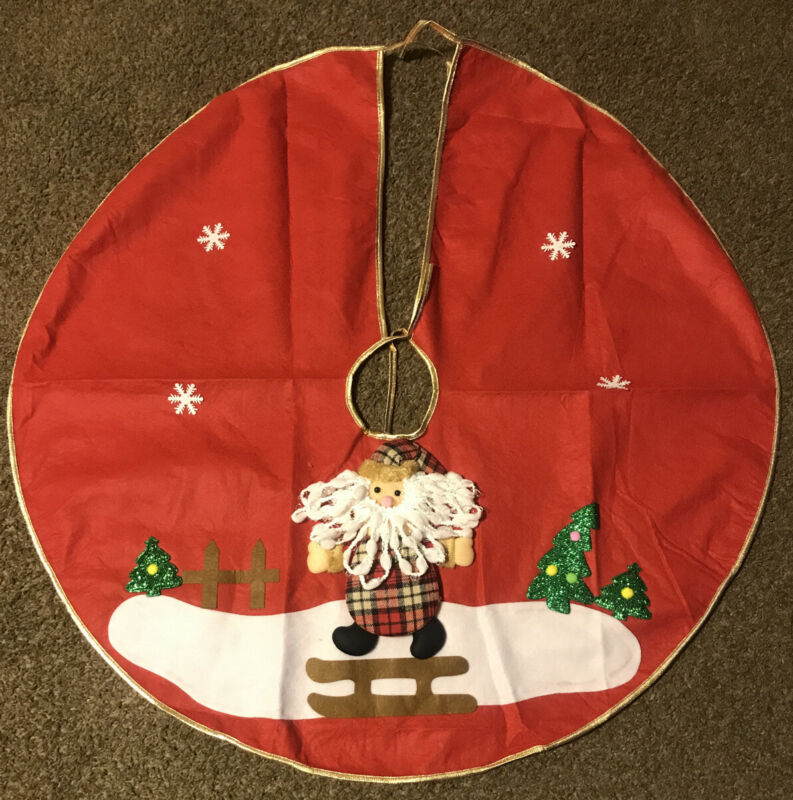 "Christmas Tree Skirt, Applique Sequins 34"" NEW"