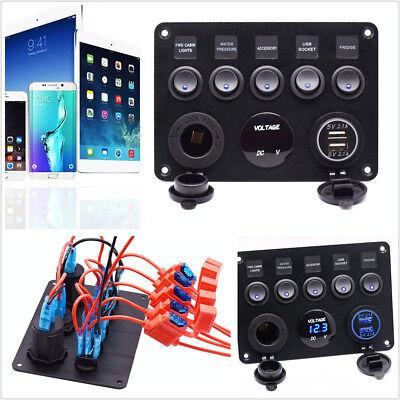 DC12/24V 5 Gang Car ON-OFF Toggle Switch Panel Dual USB Socket Charger Voltmeter