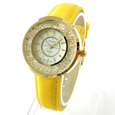 Yellow Leather band Watch with floating (Leather Band Stones)