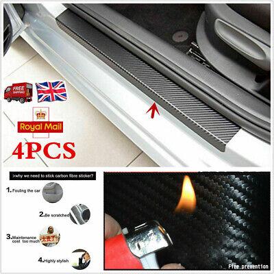 4Pcs Carbon Fibre 3D Car Door Sill Scuff Protector Plate Sticker Cover Tool UK