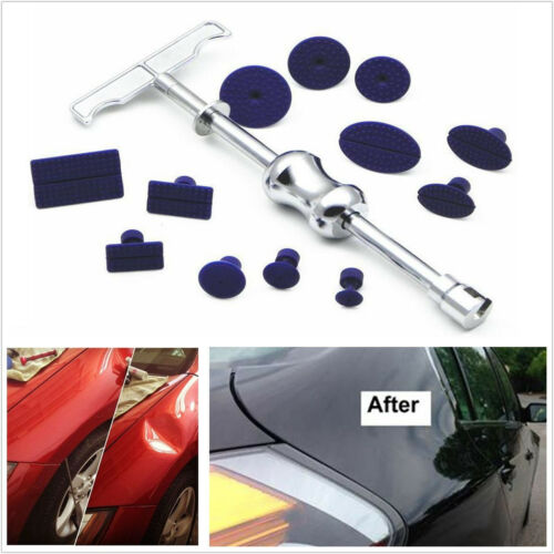 Portable Car Truck Paintless Dent Repair Removal Kit Puller Lifter T-Bar+12 Tabs