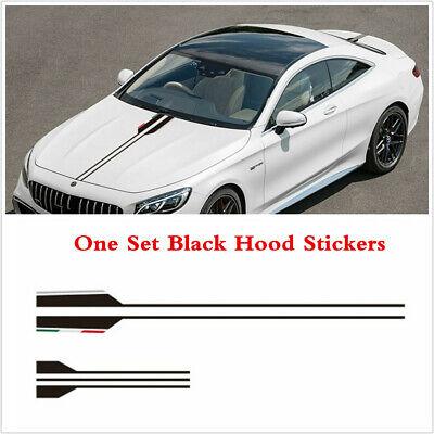 Car Body Hood Bonnet Vinyl Racing Stripe Pinstripe Decal Stickers Decor Black