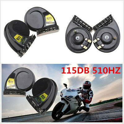 One Pair Black 12V 115DB Motorcycle Compact Electric Blast Tone Horns Super Loud