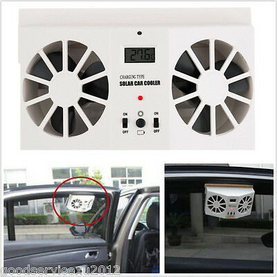 Ivory White Solar Energy Autos Off Road Window Air Vent Cool Cooler Dual Fan Kit