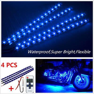Wireless Remote Control Motorcycle Blue LED Light Strip Kit For Harley-Davidson