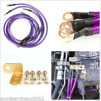 Professional Purple 5-Point Car High Performance Grounding Earth Cable Wire Kits
