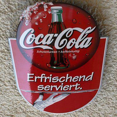 COCA COLA Altes Emailschild Essen um 1990 PERFEKT Kult Limo ERFRISCHEND SERVIERT