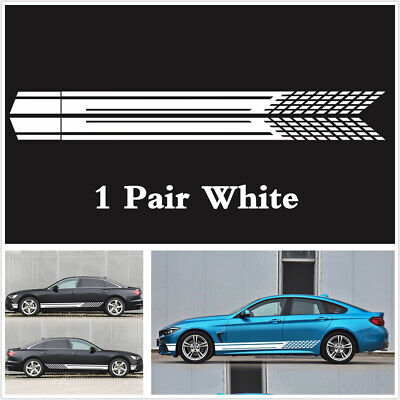 220cm Car Vinyl Side Body Door Racing Graphics Decals Sticker Auto SUV Stripe X2