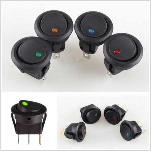20 Pcs Autos DC12V 4-Color LED Round Dot Light 3-Pin Rocker ON/OFF Toggle Switch