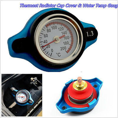 Blue Surface Car SUV Thermost Radiator Cap Cover 1.3 Bar Water Temp Gauge Meter
