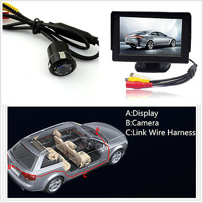8LED 18.5mm Night Vision CCD Rear View Parking Camera + 4.3