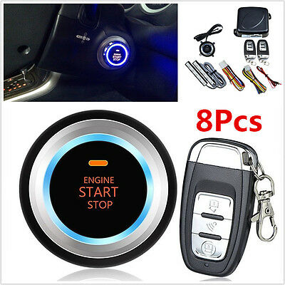 8pcs Car Alarm System Keyless Entry Engine Start Push Button Remote Starter Kit for sale  Shipping to Canada