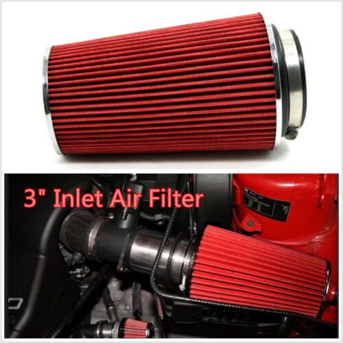 New Universal 3inch Inlet Air Intake Car Racing Red Cone Air Filter Long Filter