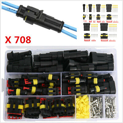 1-6Pin Way 708Pcs12V Sealed Electrical Wire Connector Plug Cable Waterproof Car