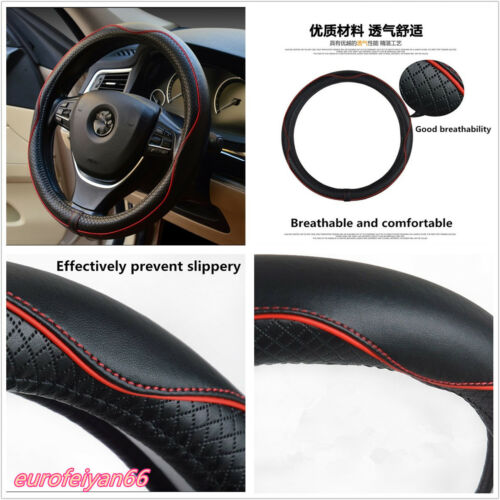38cm 100% Genuine Cowhide Leather Autos Steering Wheel Cover Breathable Non-Slip