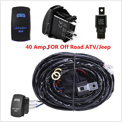 12V ONOFF Switch Control Wiring Harness Kit Relay for LED Work Driving Light