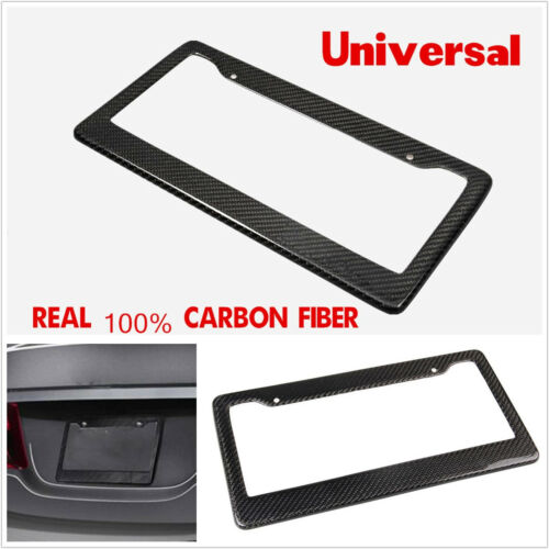 100% Black Real Carbon Fiber A-3K Twill Car Off-Road License Plate Frame Holder