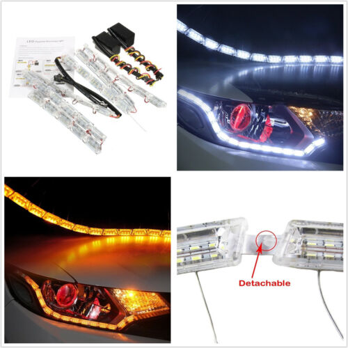 2 Pcs 12V Flexible Tear Eye White & Amber Autos LED DRL Light Strip Turn Signal