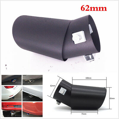 Car Exhaust Pipe 62MM Trim Tips Muffler Pipe Stainless Steel Tail Throat Black