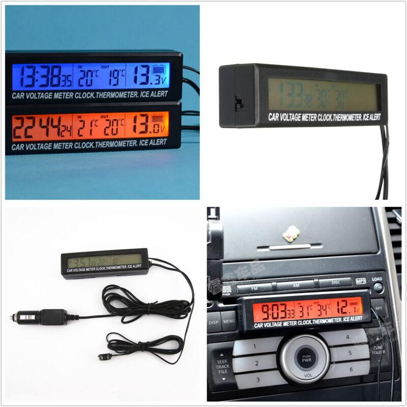 12V Backlight Orange/Blue Autos Digital Voltage Meter Thermometer Alarming Gauge