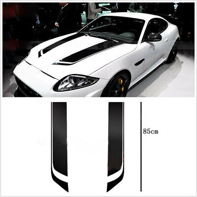 2pcs/1Pair Car SUV Racing Sports Stripes Hood Decals Vinyl Bonnet Stickers Black