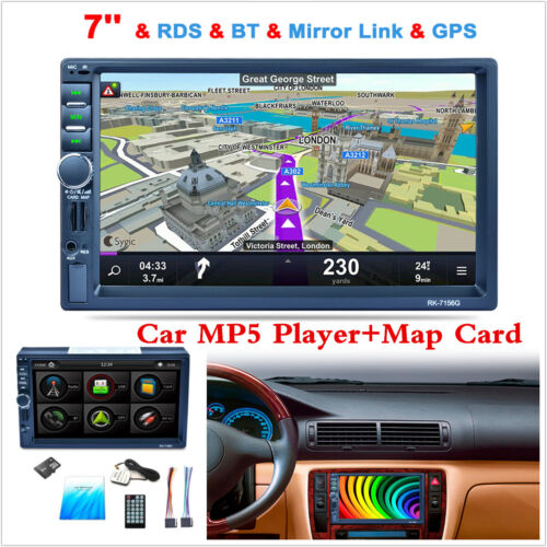 7'' inch 2 Din Bluetooth Car Stereo Touch Screen MP5 GPS Navigation Radio Player