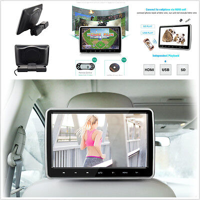 10'' Car Headrest Monitor DVD Player USB/HDMI/FM/Game Rear-Seat Entertainment US