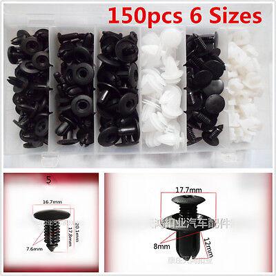 150Pcs 6 Sizes Car Body Bumper Push Pin Rivet Clip Retainer Mouldings Trim Panel
