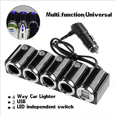 12v Car 4 Way Cigarette Lighter Multi Socket Power Adapter 2 USB With Switches