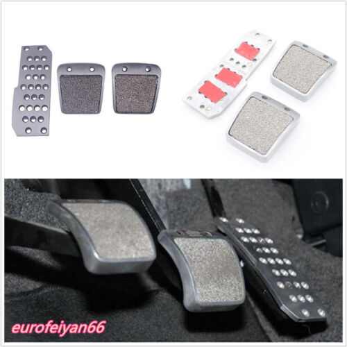 3 Pcs/Set Polished Aluminum Silver MT Car Off-Road Foot Rest Fuel Brake Pedals