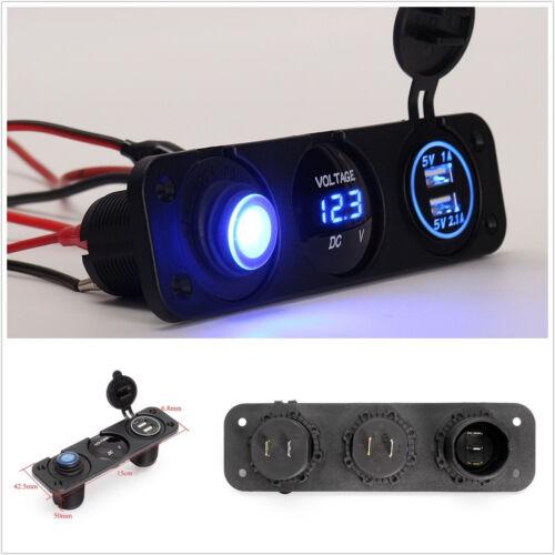 12V Blue LED Car Off-Road Dual USB 3.1A Rocker Switch Cigarette Lighter Charger
