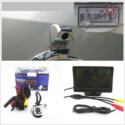 "4.3"" LCD TFT Color HD Monitor & Car License Plate Frame Screw Reverse Camera Kit"