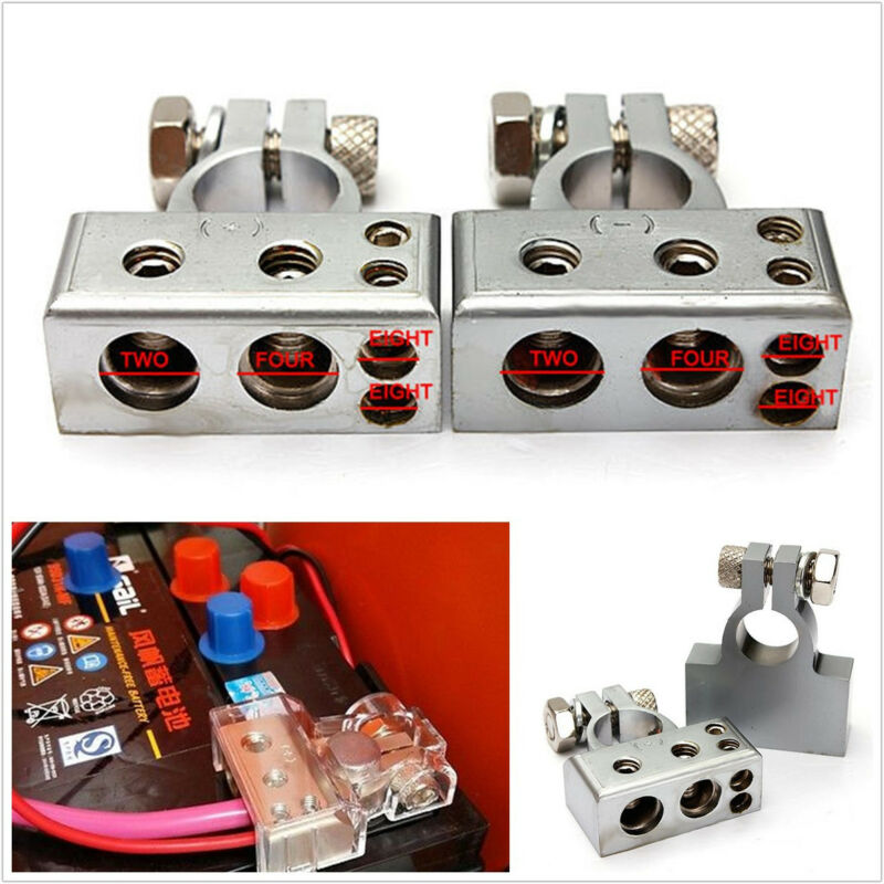 2 Pcs Metal Car Vehicles Battery Terminal Clamp Connector Kit For 0/2/4/8 Gauge