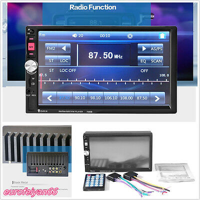 2-Din 7'' HD Touch Screen Car Off-Road Bluetooth MP5 Player FM AUX USB 7080B 12V Bluetooth 2 Palette