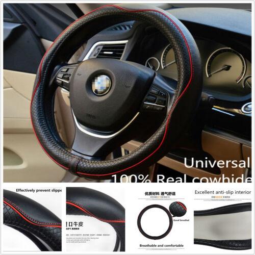Universa Black & Red Genuine Leather Car Steering Wheel Cover Anti-slip Sleeve