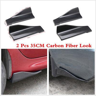 2 Pcs 35CM Carbon Fiber Color Car Bumper Spoiler Rear Splitter Diffuser Lip Wing