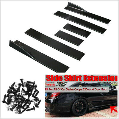 Car Side Skirt Extensions Rocker 2M Universal Splitters Diffuser Lips Side 6PCS