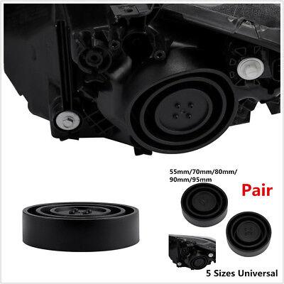 2XUniversal Seal Cap Dust Cover For Car Headlight LED HID Halogen Retrofit Black