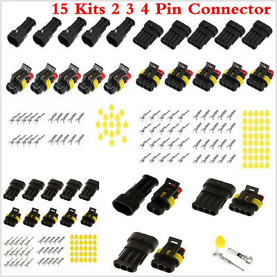 15 Kits Car Auto 2 3 4 Pin Way Sealed Waterproof Electrical Wire Connector Plug