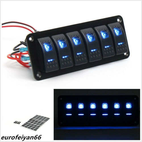 Waterproof 12/24V 6 Gang Car Off-Road Caravan Dual Blue LED Rocker Switch Panel