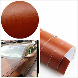 3d brown leather texture sheet film vinyl sticker car interior console dashboard ebay. Black Bedroom Furniture Sets. Home Design Ideas